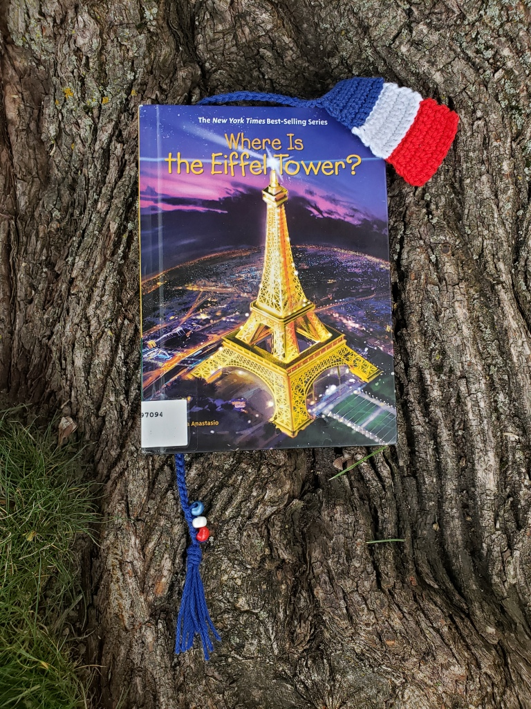 Where Is the Eiffel Tower Library Book with the French Republic Flag as a crochet bookmark