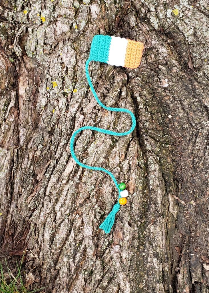 Crochet beaded bookmark of the Irish tri-colour, green, white and orange, flag