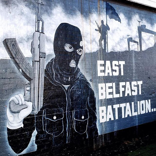 East Belfast Battalion of the UVF black and white mural