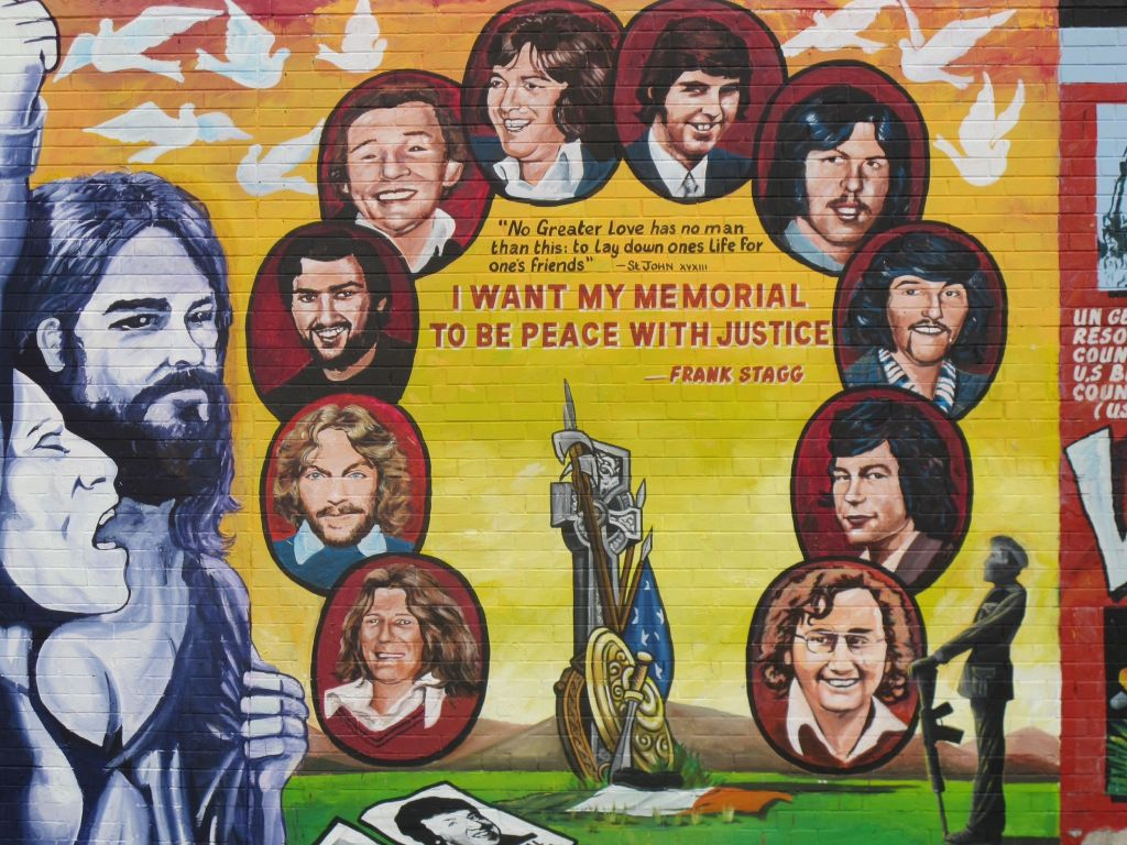 Mural of Irish Nationalist and IRA soldiers who lost their lives in battle.