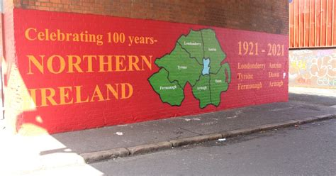 New Mural in South Belfast of Norther Ireland commemorating the centenary 1921 - 2021, and encourage solidarity