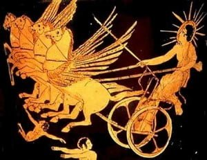 Greek God Helios and his chariot soaring to the sun