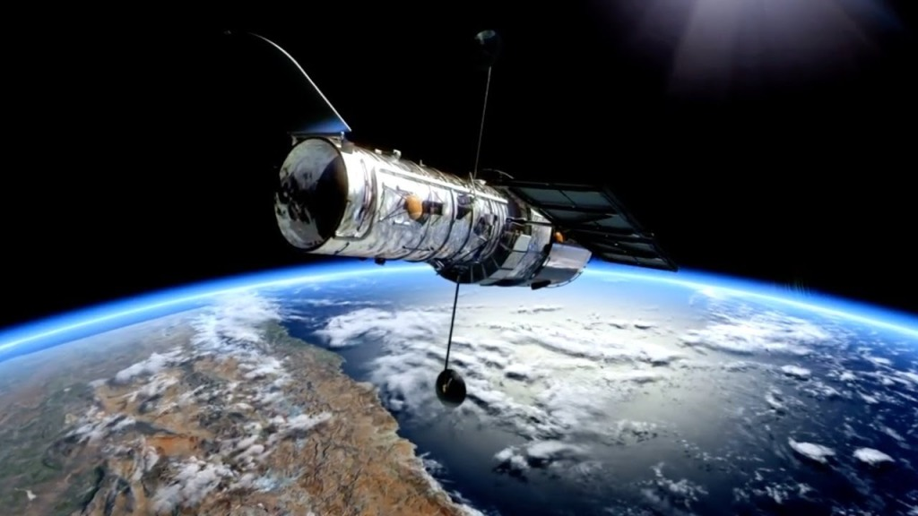 Picture of the Hubble Telescope with the Earth in the background