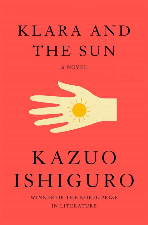 Red Book Cover for Klara and the Sun by Kazuo Ishiguro showing a hand with a sun in the centre of it