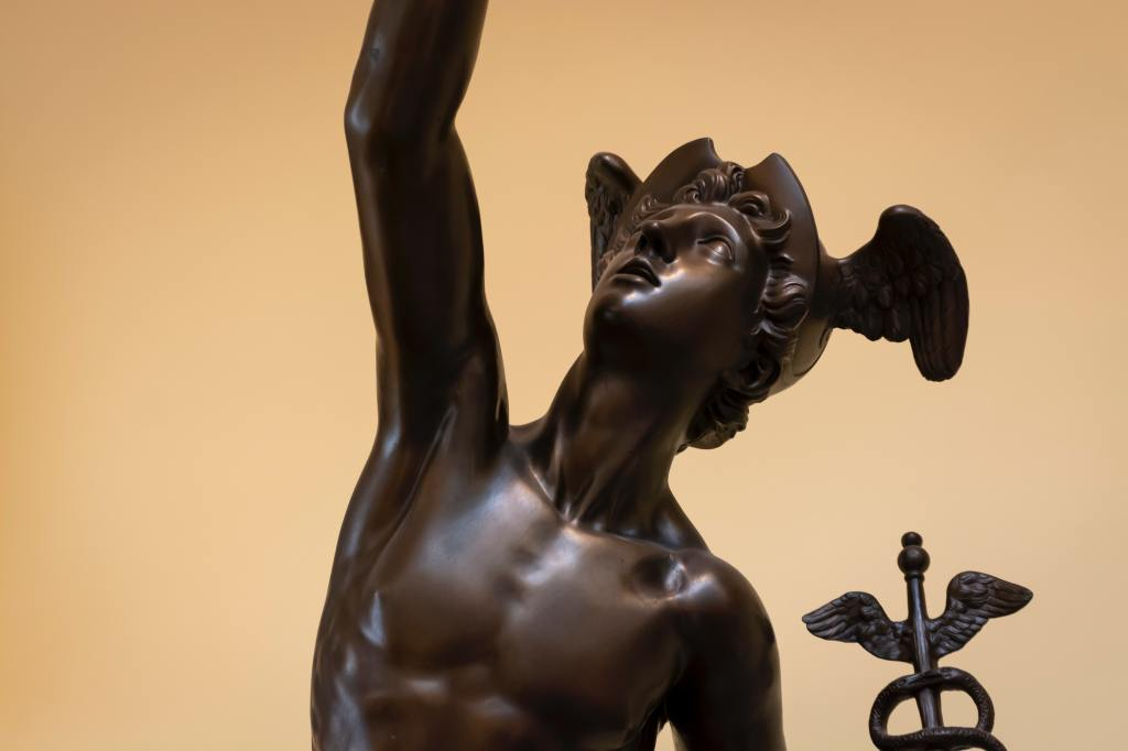 Statue of Mercury, the quick-footed messenger god