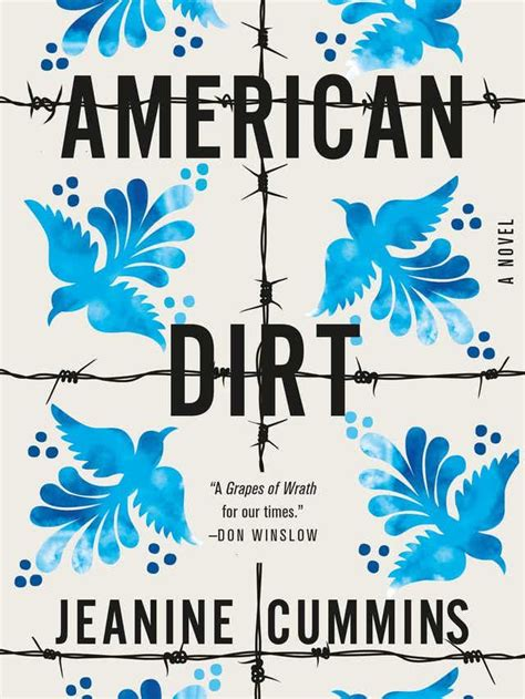 Book Cover for American Dirt by Jeanine Cummins, depicting barb wire with a pattern of painted blue birds
