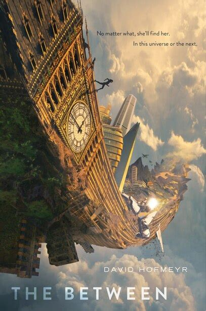 Book Cover for The Between showing a girl running across a twisted big ben style clock that seems to be shooting up into the clouds, as though set askew because of a natural disaster or scifi occurence.