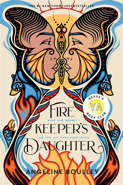 Book Cover for The Fire Keeper's Daughter showing indigenous artwork with two female faces coming together like a butterly, with flames below them, and birds flanking the flames.