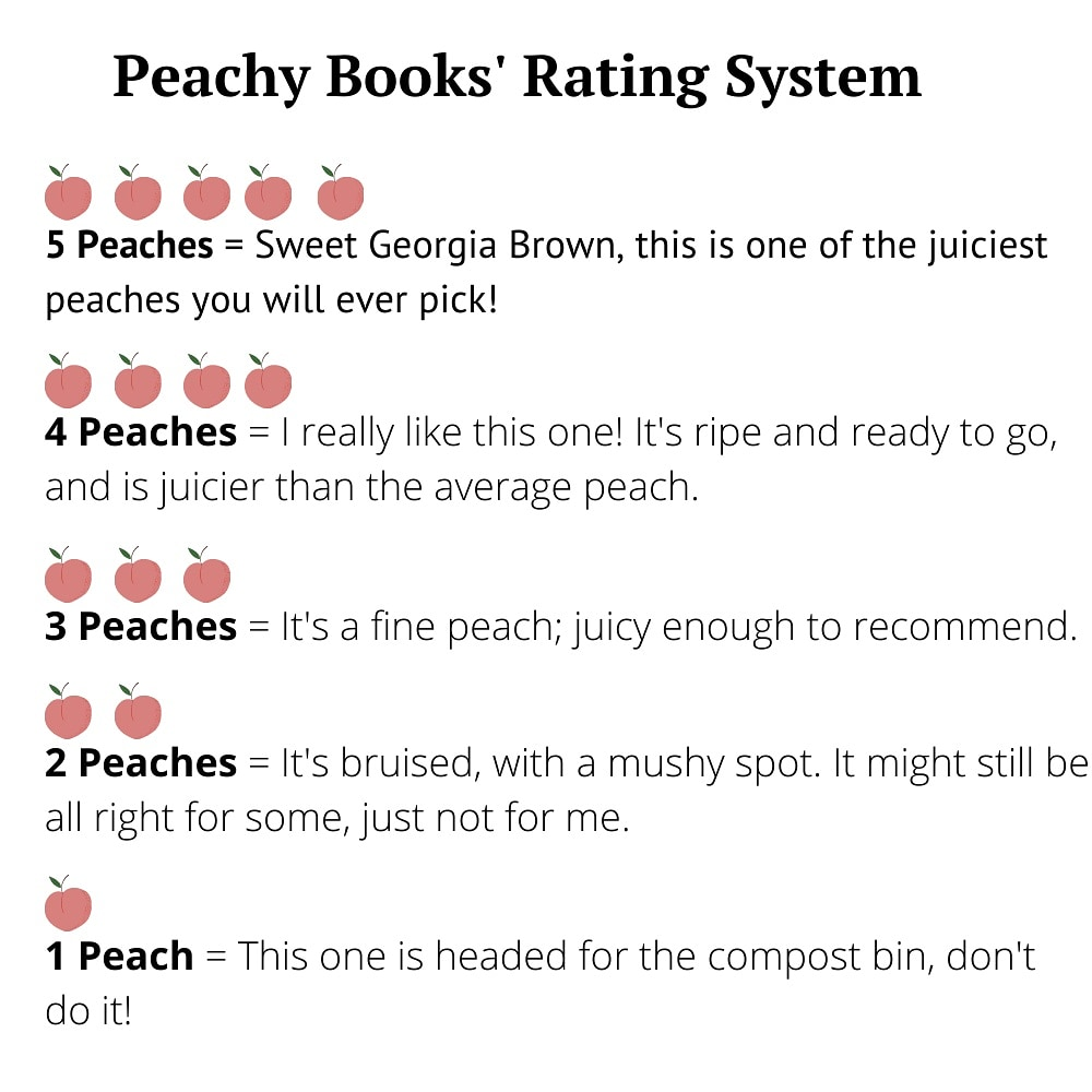 Peachy Books' Rating System explaining the meaning behind each rating from 1 to 5 peaches.