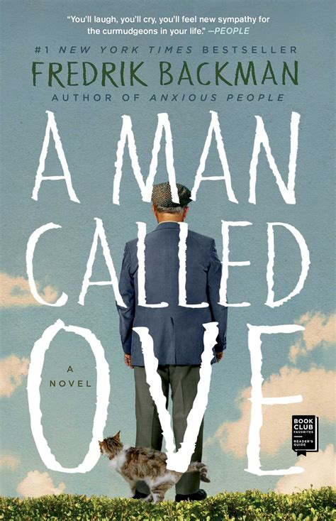 Front cover of the book A Man Called Ove by Fredrik Mackman, showing the back of a tall, older man in a mismatched suit, staring off into a cloudy sky, with a cat peering out from behind his legs to stare at that same sky.