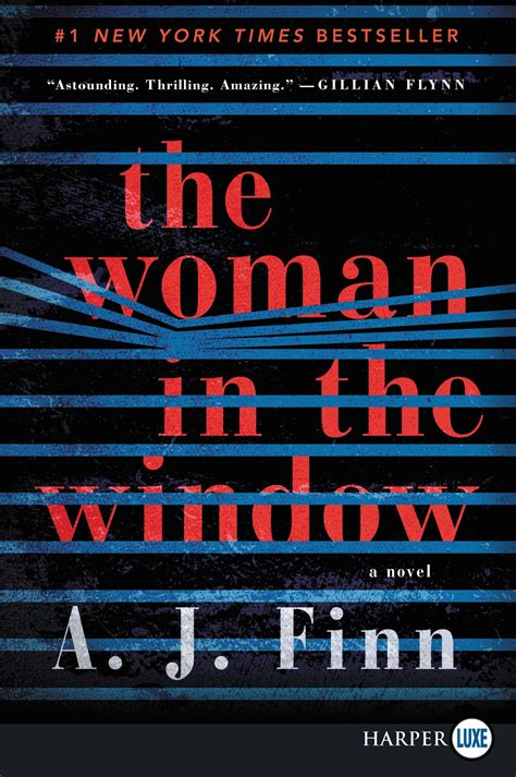 Book Cover for the Woman in the Window by A.J. Finn showing horizontal blinds that appear to be held open patterned across.