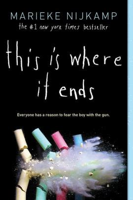 Book Cover for This Is Where It Ends by Marieke Nijkamp showing a black cover with what appears to be a bullet shooting through and breaking four pieces of coloured chalk, in yellow, green, red, and blue, and creating a cloud of chalk dust.