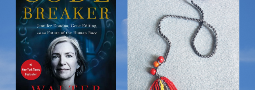 Cover for the book review for The Code Breaker with crochet bookmark of a spike protein.