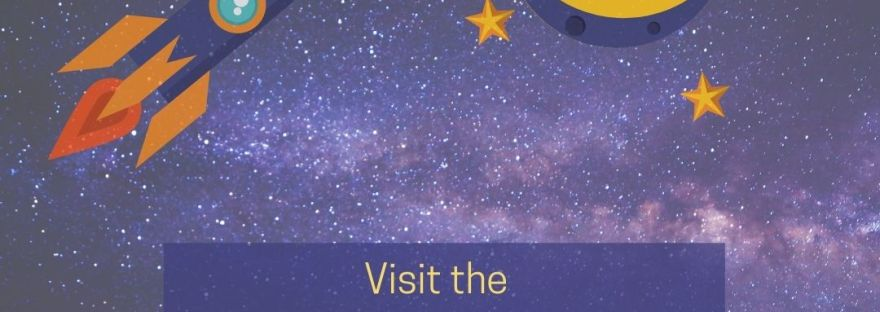 Peachy Books Graphic showing a rocket ship flying into outerspace with a purple coloured galaxy in the background and a planet with surrounding stars, with a text box below it in purple with yellow and orange letters that says: Visit the Peachy Books Review for the Who HQ Series Title: Where is Our Solar System? Today!