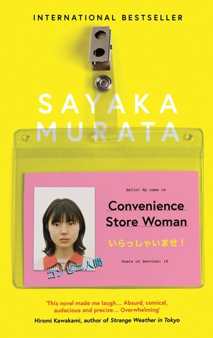 Convenience Store Woman by Sayaka Murata with a yellow cover and a clip on identification for a young Japanese woman