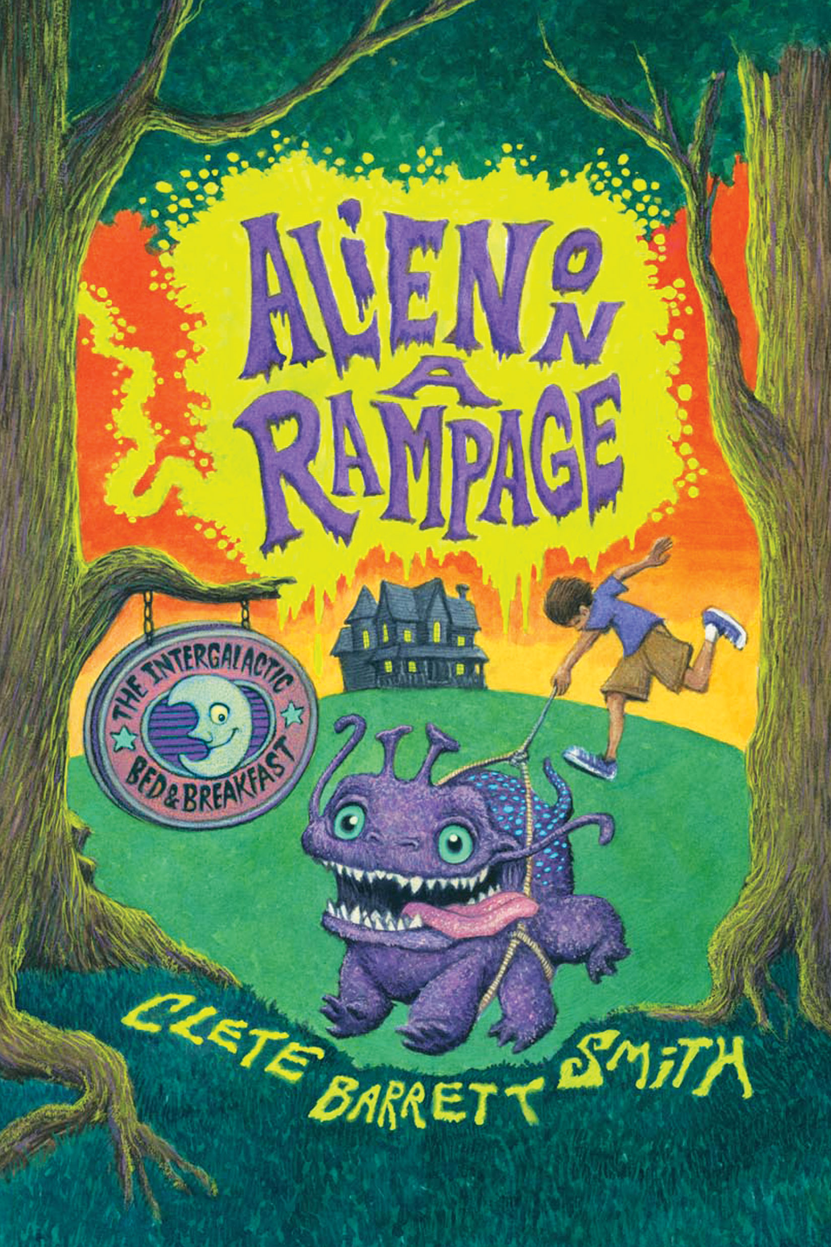 Book Cover for Alien on a Rampage showing an image of Snarffle, the purple alien pet, and a sign for The Intergalactic Bed and Breakfast with the B and B as the distant backdrop