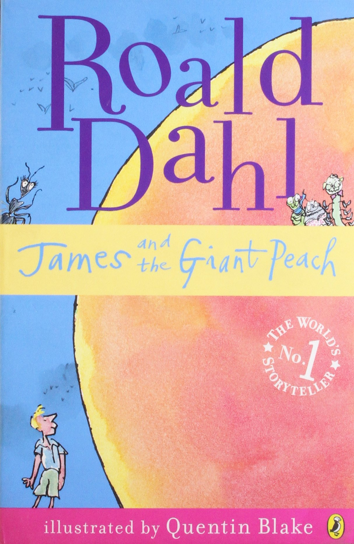 Book Cover for James and the Giant Peach by Roald Dahl showing a small James in the bottom left corner, staring up at a giant peach taking up the majority of the cover