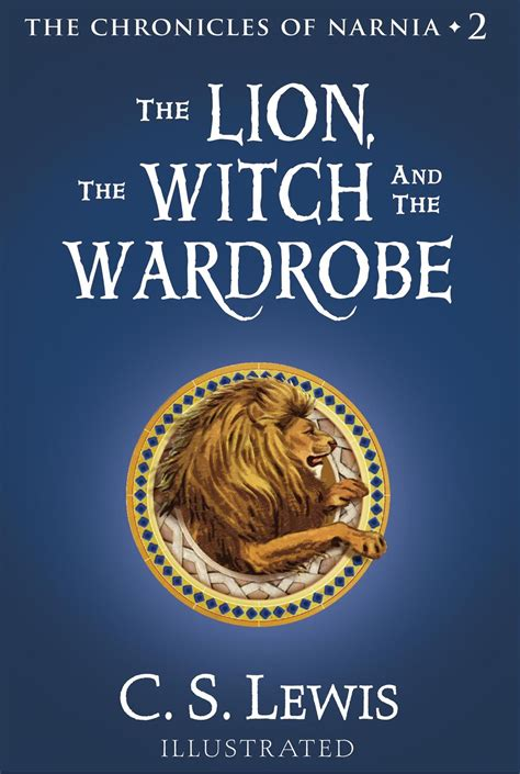 Book Cover for The Chronicles of Narnia book 2, The Lion, The Witch, and The Wardrobe, with a blue cover and a lion in the middle