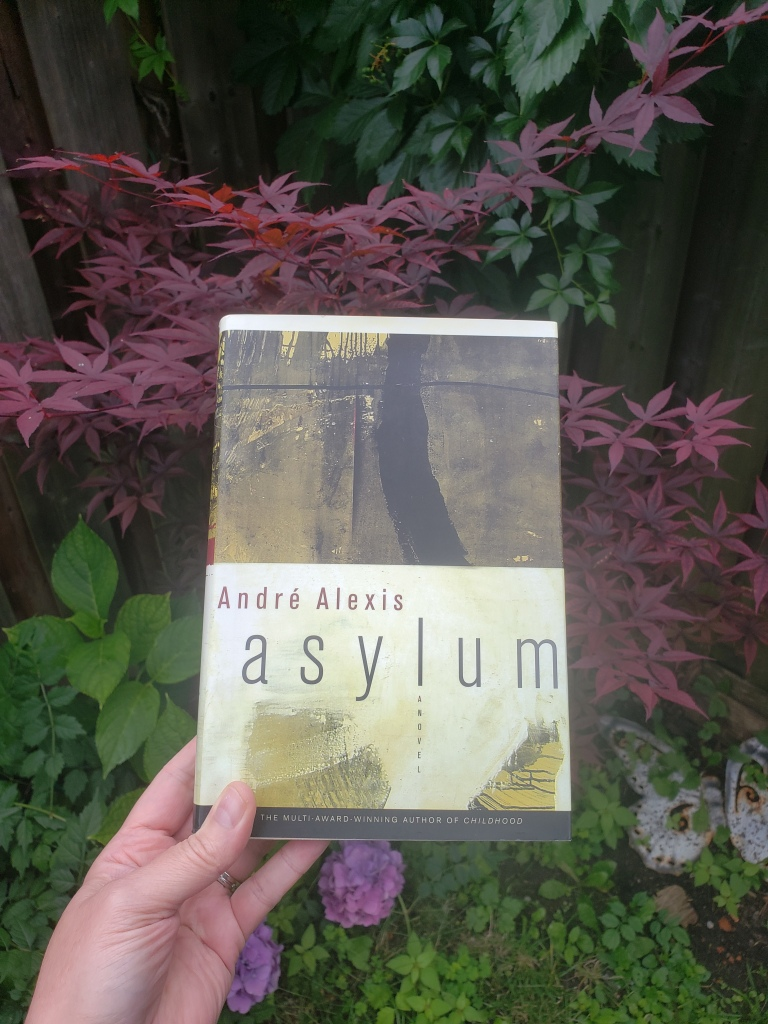 Book Cover for Asylym by Andre Alexis taken in front of a Japanese Maple tree