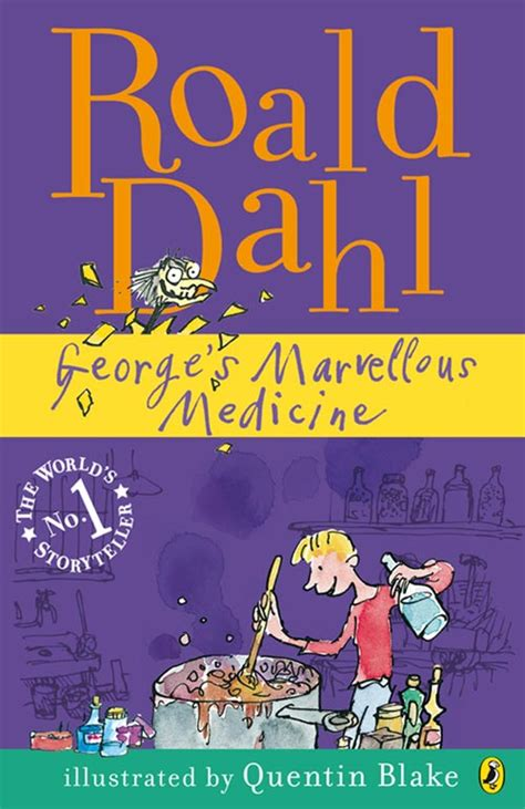 Book Cover for Roald Dahl's George's Marvellous Medicine, showing George mixing up his bubbling brown concoction.