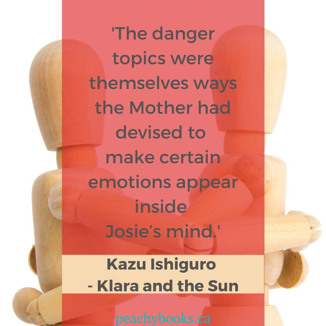 Quote from Klara and the Sun by Kazu Ishiguro: 'The danger topics were themselves ways the Mother had devised to make certain emotions appear inside Josie's mind.' with two wooden bendable puppet people
