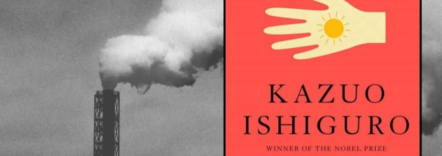Graphic for the Peachy Books review of Klara and the Sun showing the book cover superimposed on a black and white image of a smoke stack emitting pollution into the darkened sky and the the tagline underneath in yellow lettering on a red rectangle says: Read the Peachy Books review for this sci-fi blockbuster today!