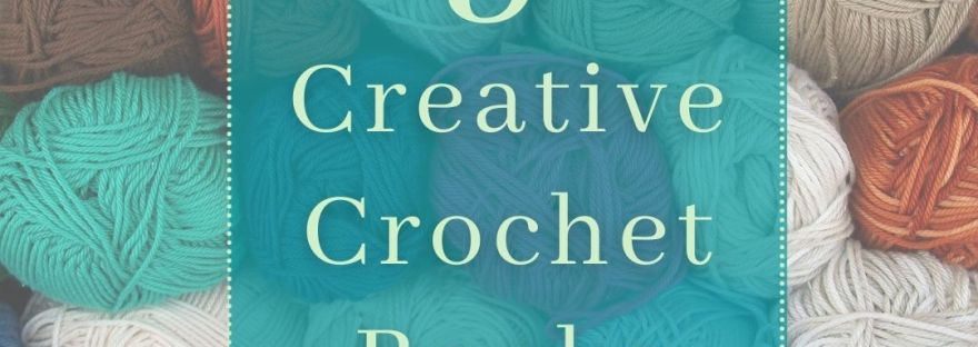 Graphic for the Peachy Books blog post 5 Creative Crochet Books with a background of yarn balls in assorted colours