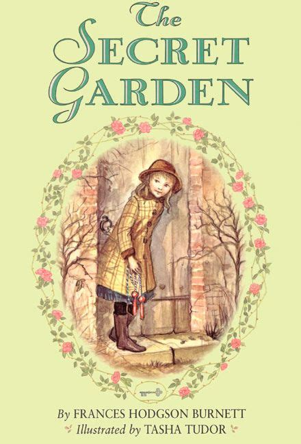 Book Cover for The Secret Garden by Frances Hodgson Burnett showing Mary entering the secret garden for what look likes the first time, carrying a skipping rope and wearing galoshes, a wide-brimmed hat, and a petticoat.