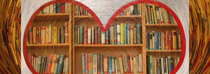 Graphic for the Peachy Books Blog post What's On My Shelf?! showing a bookshelf in whirlpool swirl with the cut out of a heart overtop.