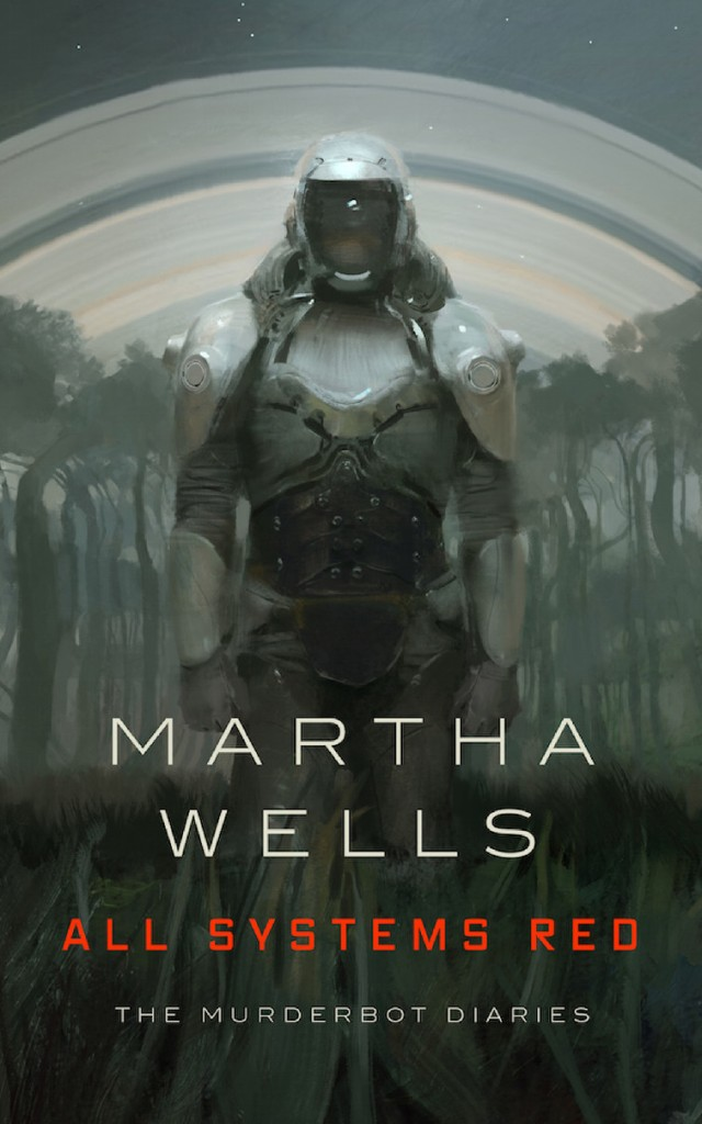 Book Cover for All Systems Red by Martha Wells from The Murderbot Diaries Series showing a murderbot.