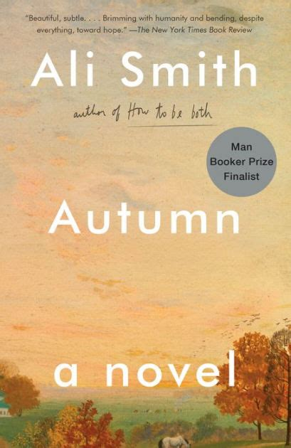 Book Cover for Autumn by Ali Smith showing some trees with leaves in fall colours, and a peach coloured cloudy sky