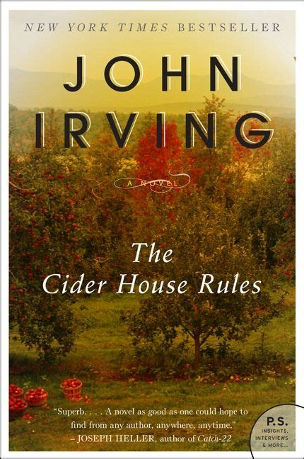 Book Cover for The Cider House Rules by John Irving showing some trees in an apple orchard with bushels of filled apples and fallen apples at their bases