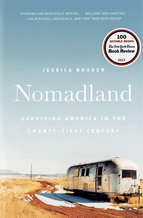 Book Cover for Nomadland by Jessica Bruder showing a dilapidated camper in the middle of nowhere