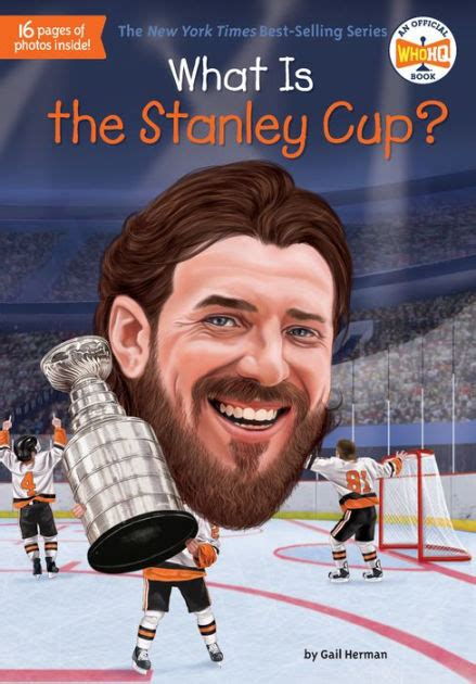 Book Cover for the Who HQ series title What Is The Stanley Cup? showing a bobble head of a hockey player smiling and skating around with the Stanley cup after winning the championship.