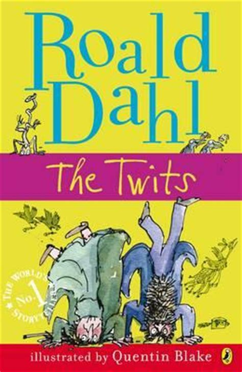 Book Cover for The Twits by Roald Dahl in moss green with teal lettering, showing the Twits upside down with birds from the story flying around them