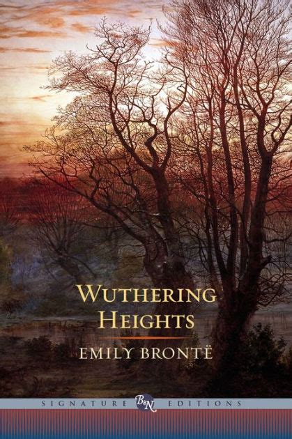 Book Cover for Wuthering Heights by Emily Bronte published by Signature Editions, showing a background of a clouding sky with a setting sun and trees barren of their leaves